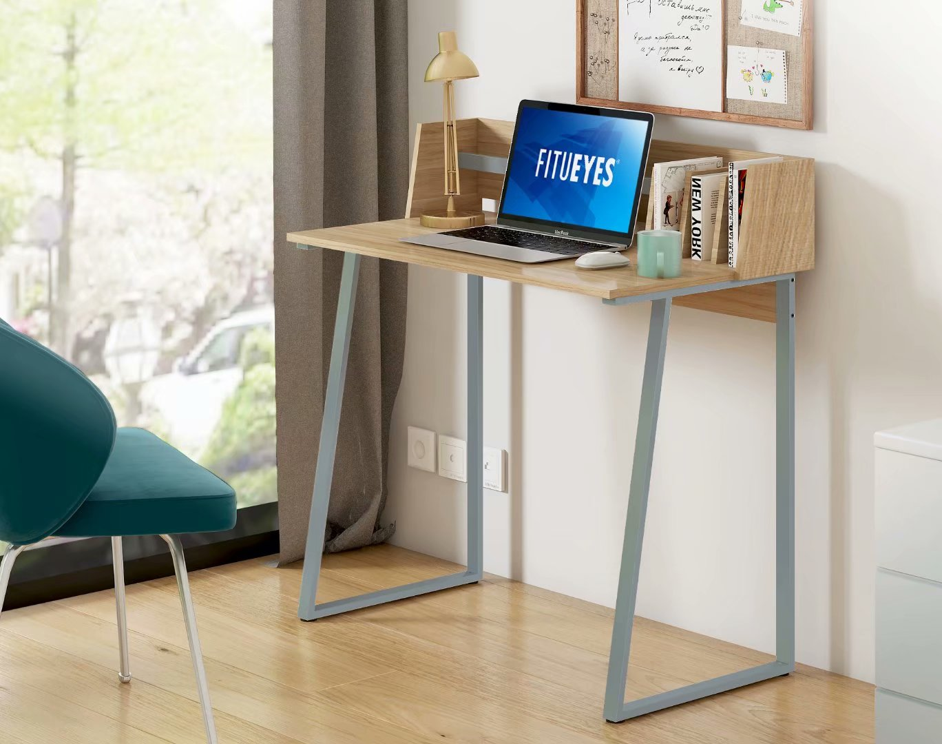 FITUEYES Writing Study Desk with Storage Back Board Wood and Metal Computer Desk for Small Space Oak