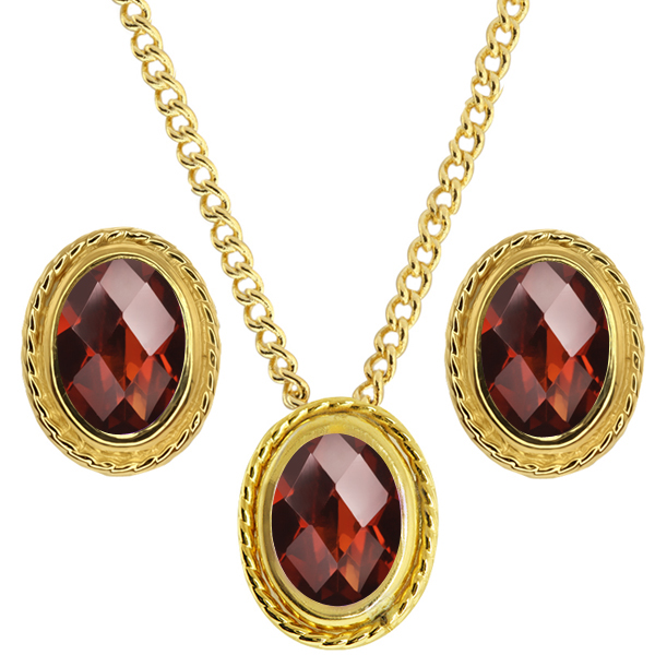 2.60 Ct Oval Checkerboard Red Garnet 925 Yellow Gold Plated Silver Pendant Earrings Set