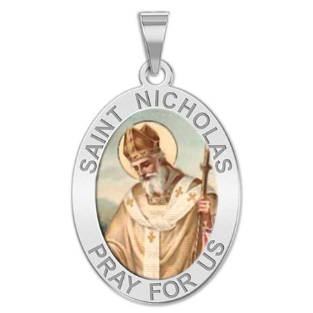 Saint Nicholas OVAL Religious Medal Color - 1/2 X 2/3 Inch Size of Dime, Solid 14K White Gold ()