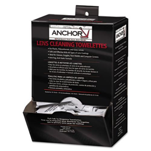 "Anchor Brand AB-70 Lens Cleaning Towelettes, 5 in x 8"", White, 100/Box"