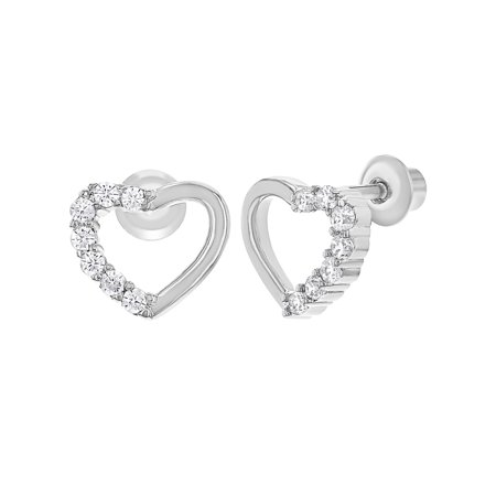Rhodium Plated Clear Crystal Heart Screw Back Earrings for Kids