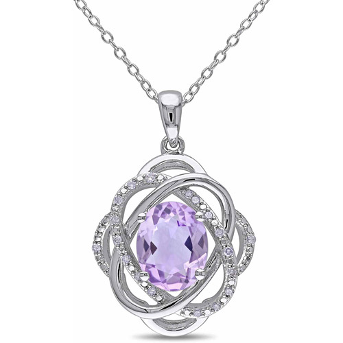 2-1/5 Carat T.G.W. Amethyst and Diamond Accent Sterling Silver Spiral Pendant, 18""