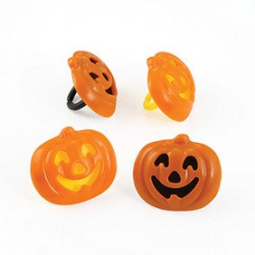 24 Pumpkin Stacked Halloween Cupcake Cake Rings Birthday Party Favors Toppers