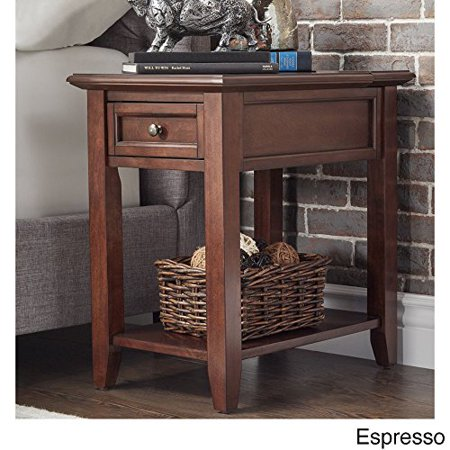 Modhaus Living Modern Espresso Brown Wood Accent End Table Night Stand With Hidden Strip Charging