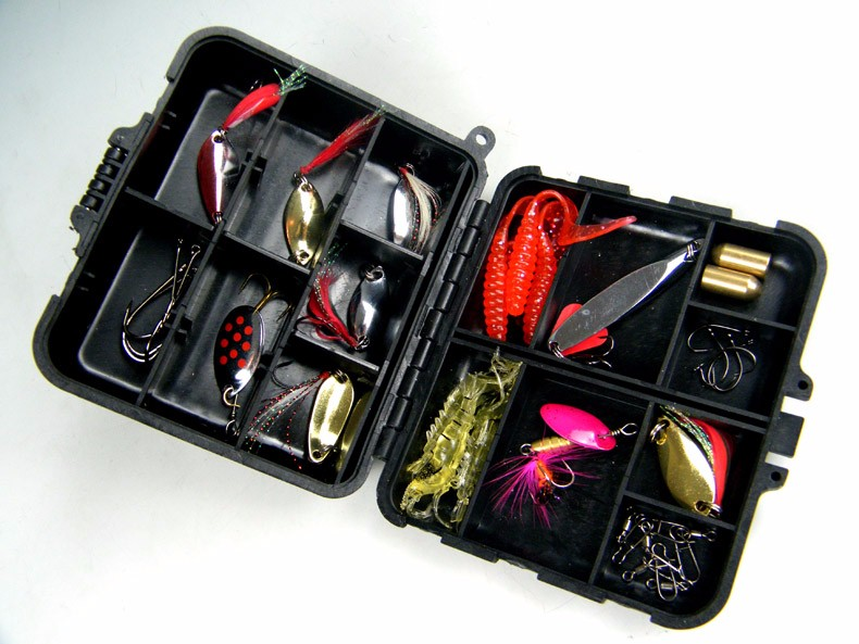 1Set(33pcs in 1box) Fishing Lure Laser Spinner Metal Lure box Set Kit by