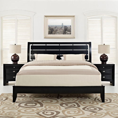 Modway Olivia 3-Piece Queen Contemporary Bedroom Set in Black by Modway