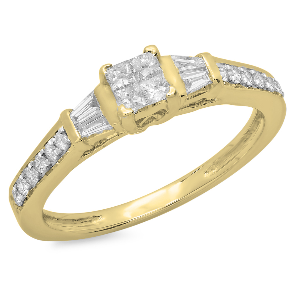 Dazzling Rock 0.50 Carat (ctw) 10K Yellow Gold Princess B...