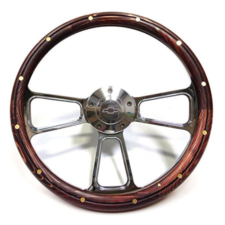 - 1970 & Up Chevrolet Monte Carlo Real Wood & Billet Steering Wheel & Adapter Kit