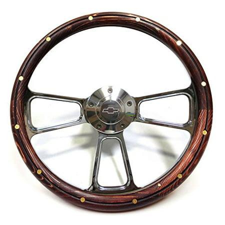 - 1970 & Up Chevrolet Monte Carlo Real Wood & Billet Steering Wheel & Adapter Kit