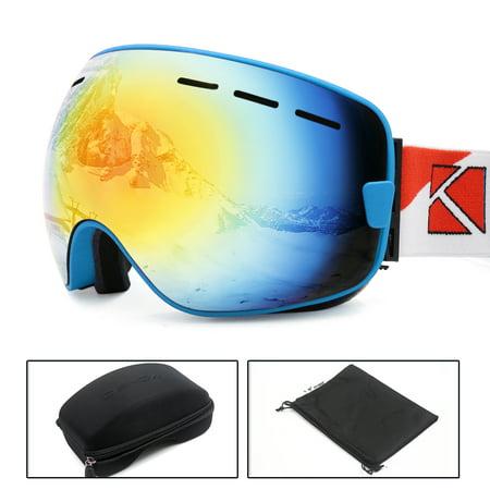 Ski Snowboard Goggles Anti-fog UV Protect Red Lens Glasses Women Men