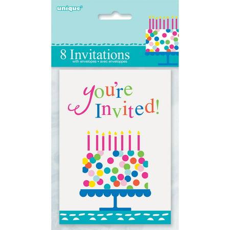 Confetti Cake Birthday Invitations, 8-Count