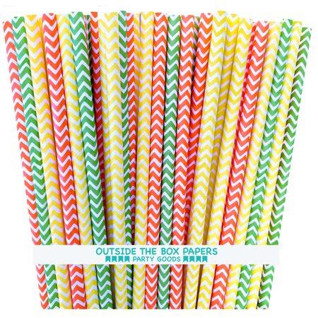 Lime Green, Yellow and Orange Chevron Paper Straws - 75 Pack ()