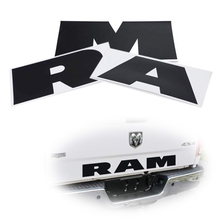 - Black 3-Letter Matte Finish Thin Vinyl Lettering Decal Stickers For Dodge Ram 1500 2500 3500 Rear Trunk Tailgate