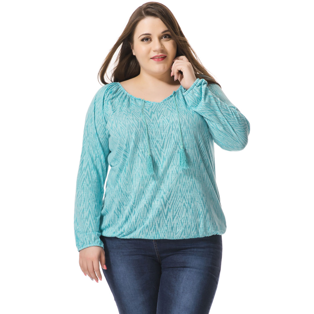 Allegra k women s plus size geometric shape tasseled peasant blouse