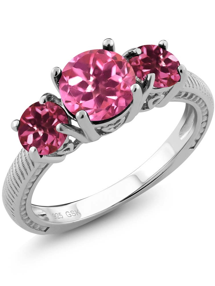 2.30 Ct Round Pink Mystic Topaz Pink Tourmaline 925 Sterling Silver 3 Stone Ring by