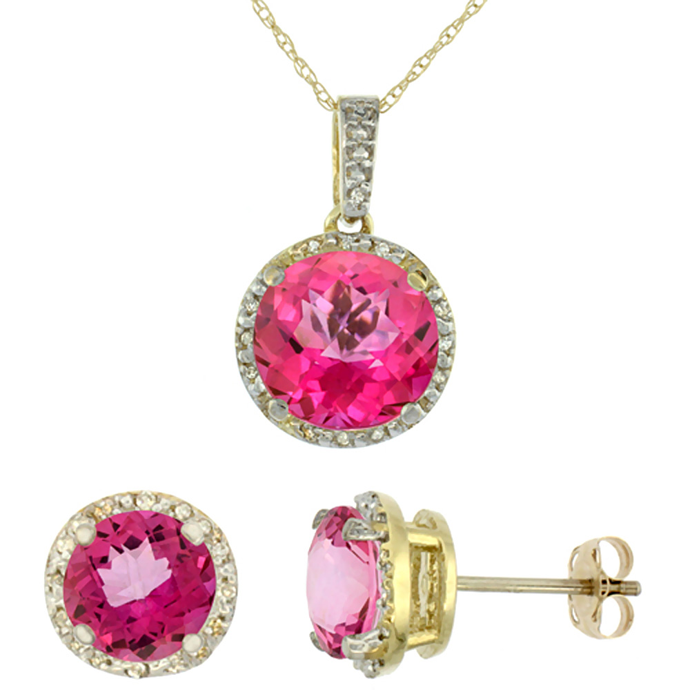 10K Yellow Gold Natural Round Pink Topaz Earrings & Pendant Set Diamond Accents by WorldJewels