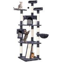 Topeakmart 79-in Cat Tree & Condo Scratching Post Tower, Dark Gray & White