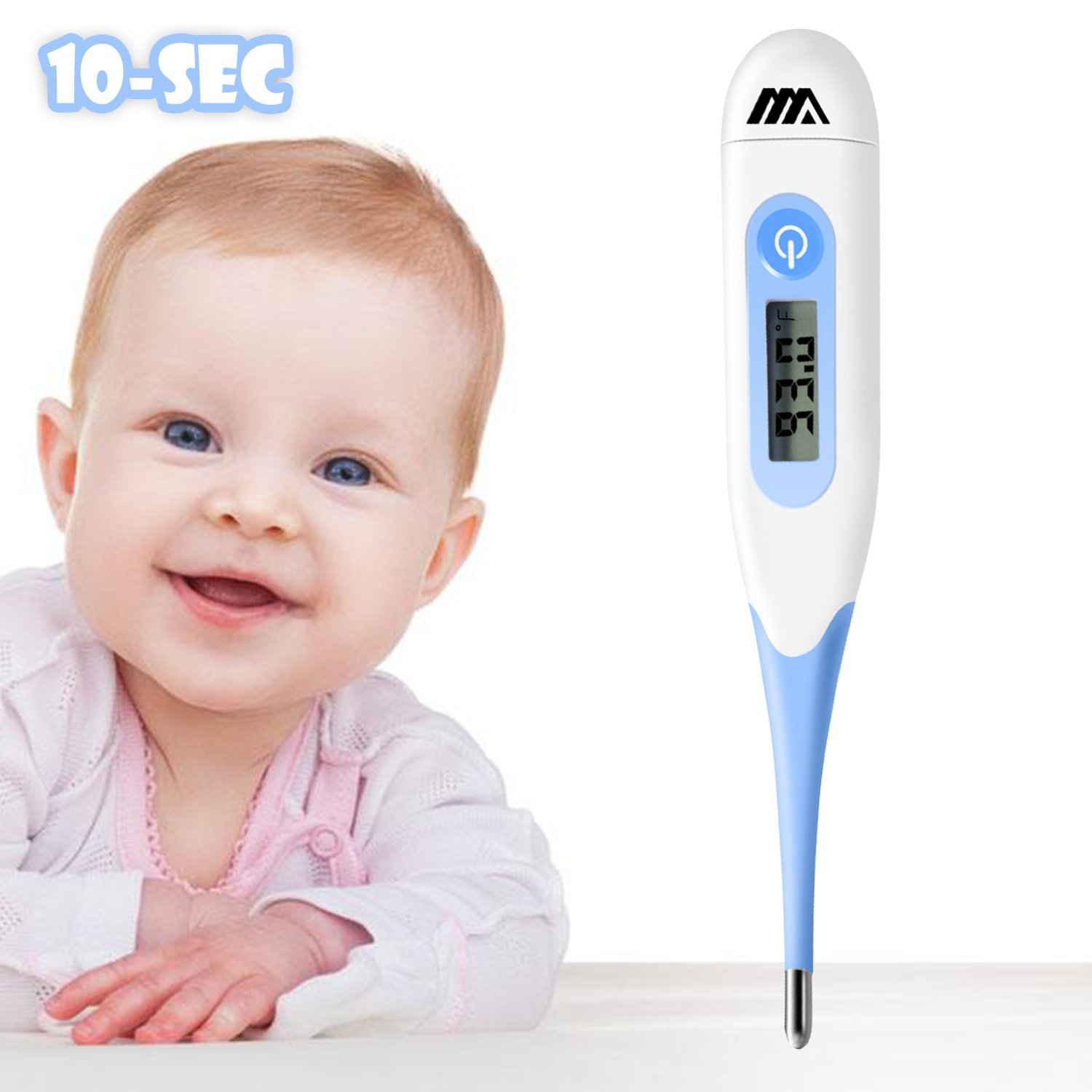 Adoric Life Digital Basal Thermometer with 10 Sec Fast Reading - Oral Mouth, Rectal, Underarm Body Temperature Thermometer for Babies, Kids and Adults with Fever Indicator FDA and CE Approved