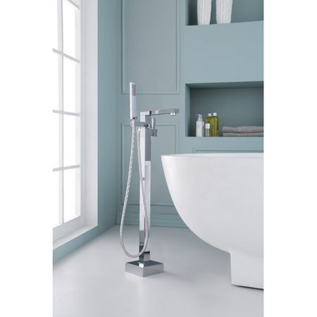 Ariel Bath Single Handle Floor Mounted Freestanding Tub Filler with Hand Shower
