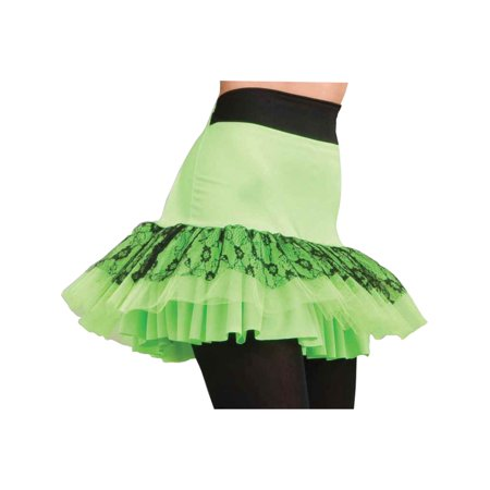 Retro 80s Neon Green Lace Tutu Pop Party Skirt Costume Accessory for $<!---->