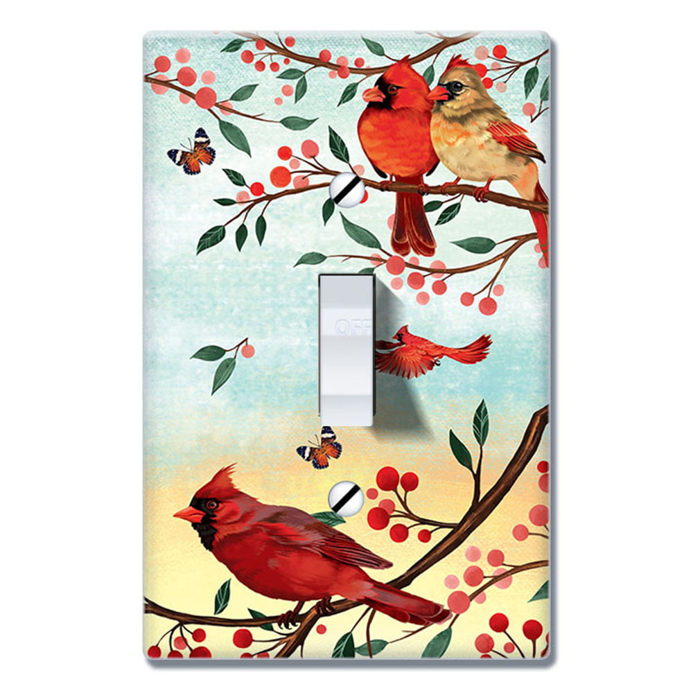 Wirester 1 Gang Toggle Wall Plate Switch Plate Cover Red Cardinal Birds Walmart Com Walmart Com