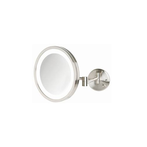 LED Lighted Wall Mount Mirror in Nickel Finish