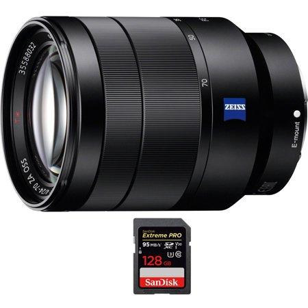 Sony Vario-Tessar T* FE 24-70mm F4 ZA OSS Full Frame E-Mount Lens (SEL2470Z) with Sandisk Extreme PRO SDXC 128GB UHS-1 Memory (Best Sony Full Frame Lenses)