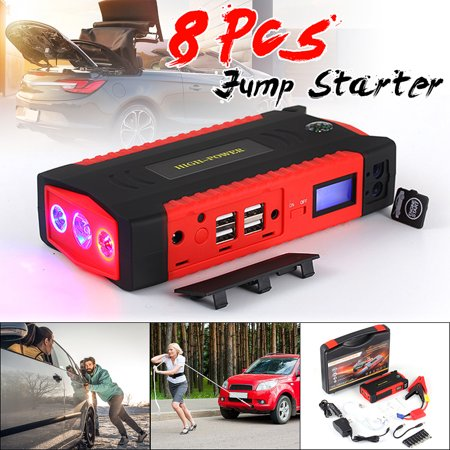 - 82800mAh 300A LCD 4 USB Car Jump Starter Charger Vehicle Battery Booster Power Bank LED Flashlight