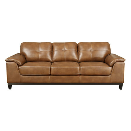Emerald Home Marquis Chestnut Sofa with Faux Leather Upholstery, Padded Arms, And Contrast Stitching