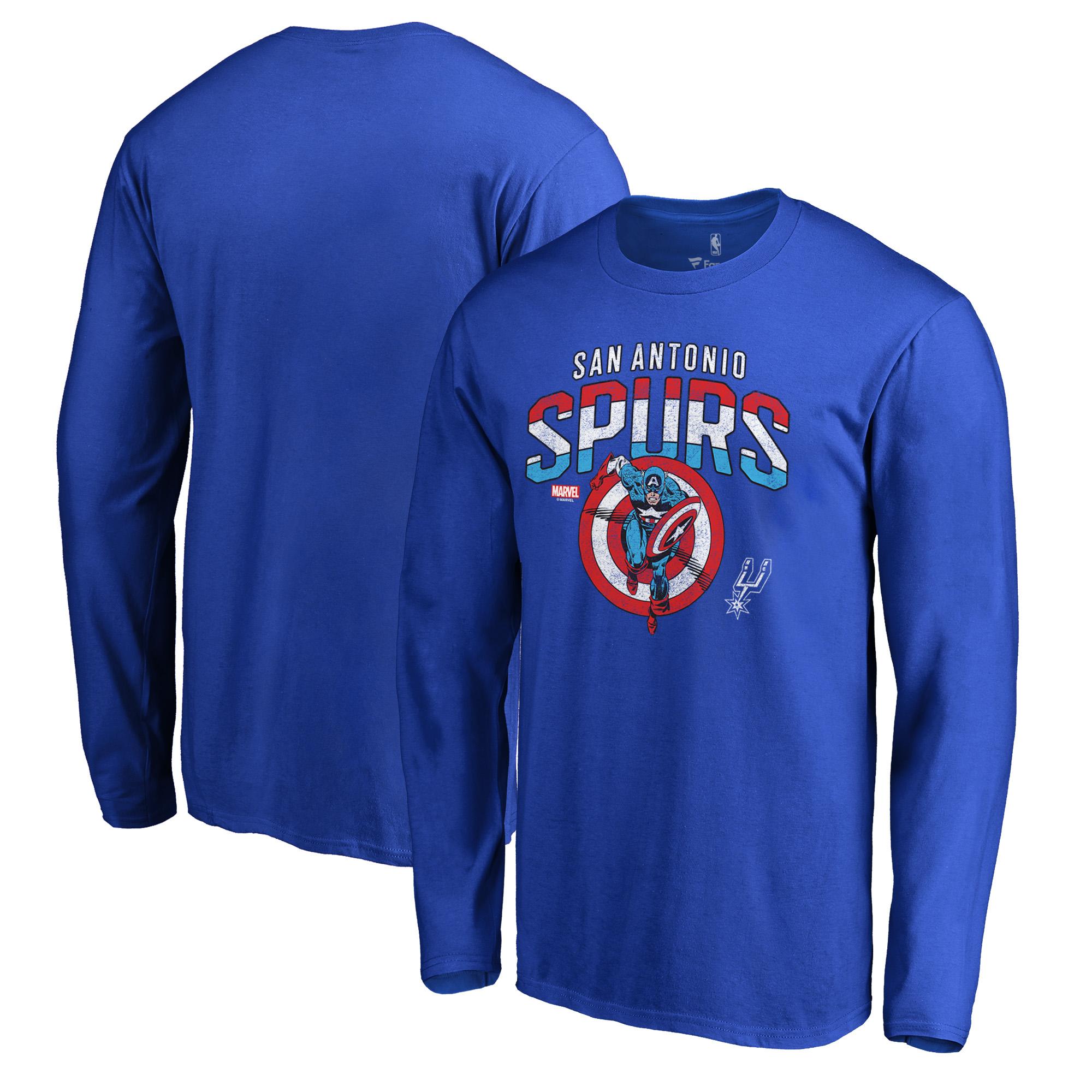 San Antonio Spurs Fanatics Branded Captain's Shield Long Sleeve T-Shirt - Royal