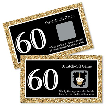 Adult 60th Birthday - Gold - Birthday Party Game Scratch Off Cards - 22 Count (Adult Birthday Party Supplies)