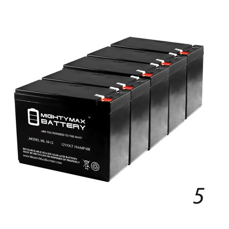 Rhino Replacement - 12V 10AH Battery Replacement for Rhino SLA10-12T, SLA1012T - 5 Pack