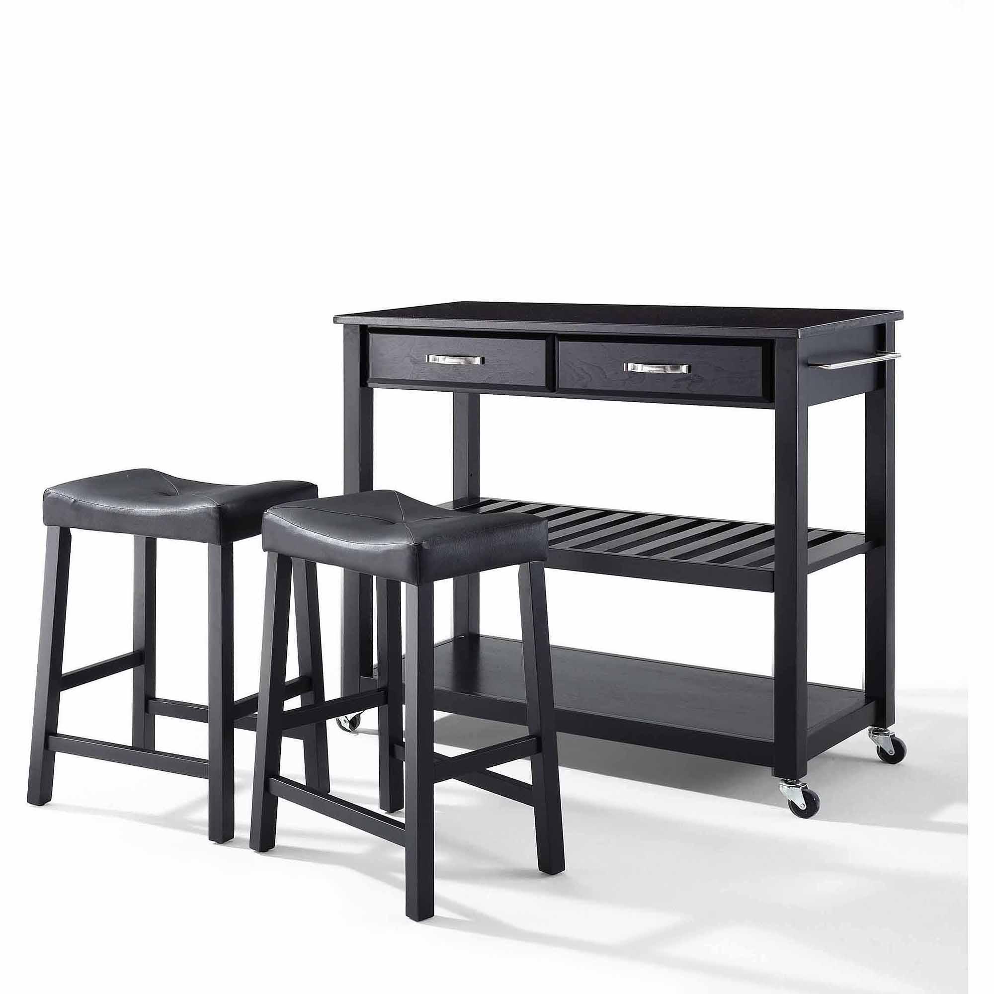 "Crosley Furniture Solid Black Granite Top Kitchen Cart with 24"" Upholstered Saddle Stools"