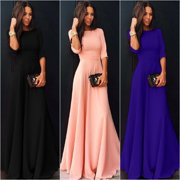 Womens Long Chiffon 3/4 Sleeve Evening Formal Party Prom Ball Gown Maxi Dress