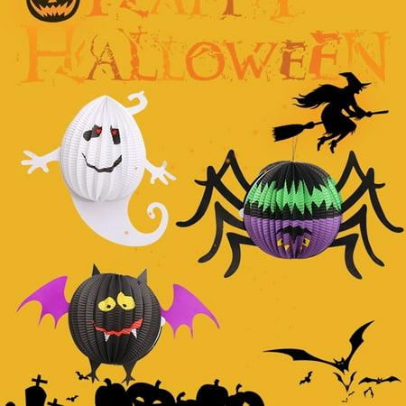 cnmodle Diy Halloween Paper Lanterns With LED Lights Homer Hanging Decoration - spider, ghost, - Halloween Decorations Diy Paper