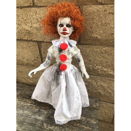 OOAK Pennywise IT Clown Girl Long & Lanky Creepy Horror Doll Art by Christie Creepydolls