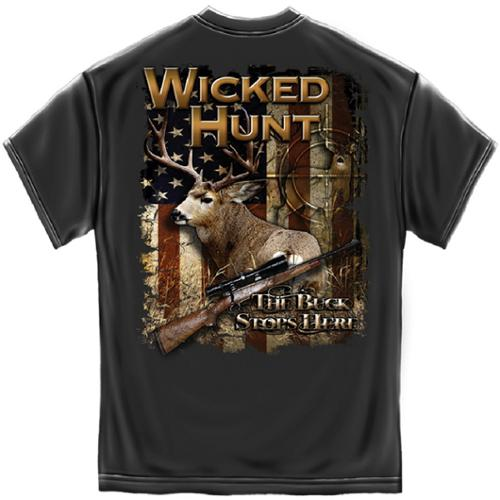 Wicked Hunt The Buck Stops Here Deer Hunting T-Shirt by Erazor Bits, Gray, XL