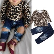 Fashion 2pcs Toddler Kids Baby Girls Outfits Leopard Print Tops+Destroyed Jeans Pants Clothes 9-12 Months