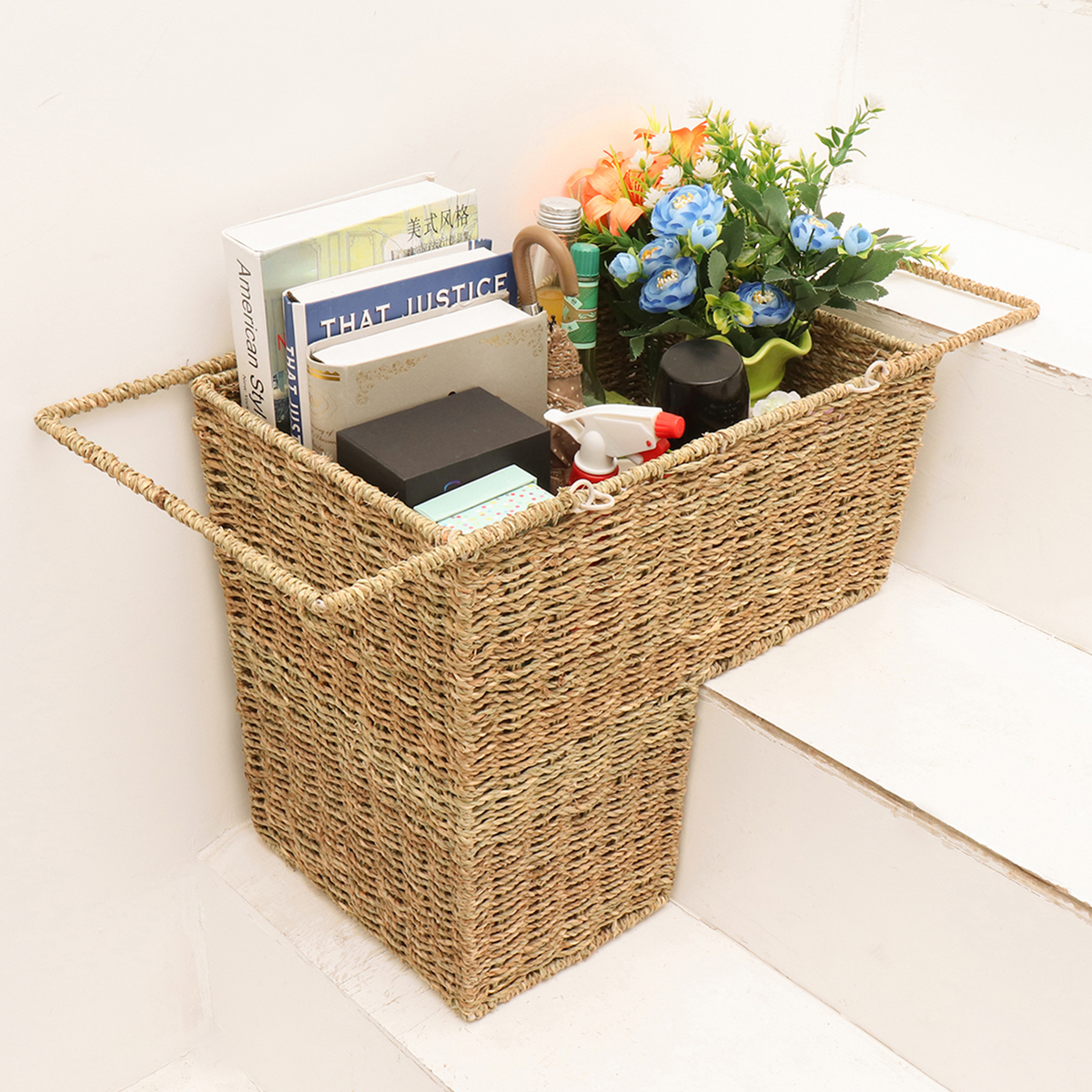 Household Essentials Seagrass Wicker Stair Step Basket With Handle  43x25x40cm