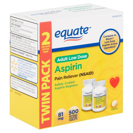 Equate Adult Low Dose Aspirin Enteric Coated Tablets, Twin Pack, 81 mg, 500 count