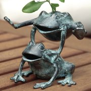 SPI Home Leaping Frogs Flower Holder Statue