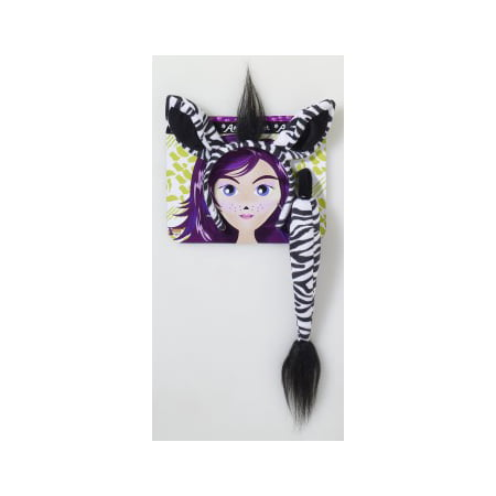 Zebra With Tail Halloween Costume Kit - Halloween Cat Tail Make