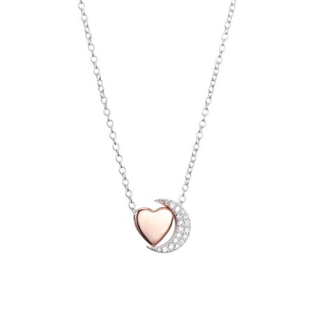 Two-Tone Sterling Silver CZ Crescent Moon & Heart Slider Pendant Necklace