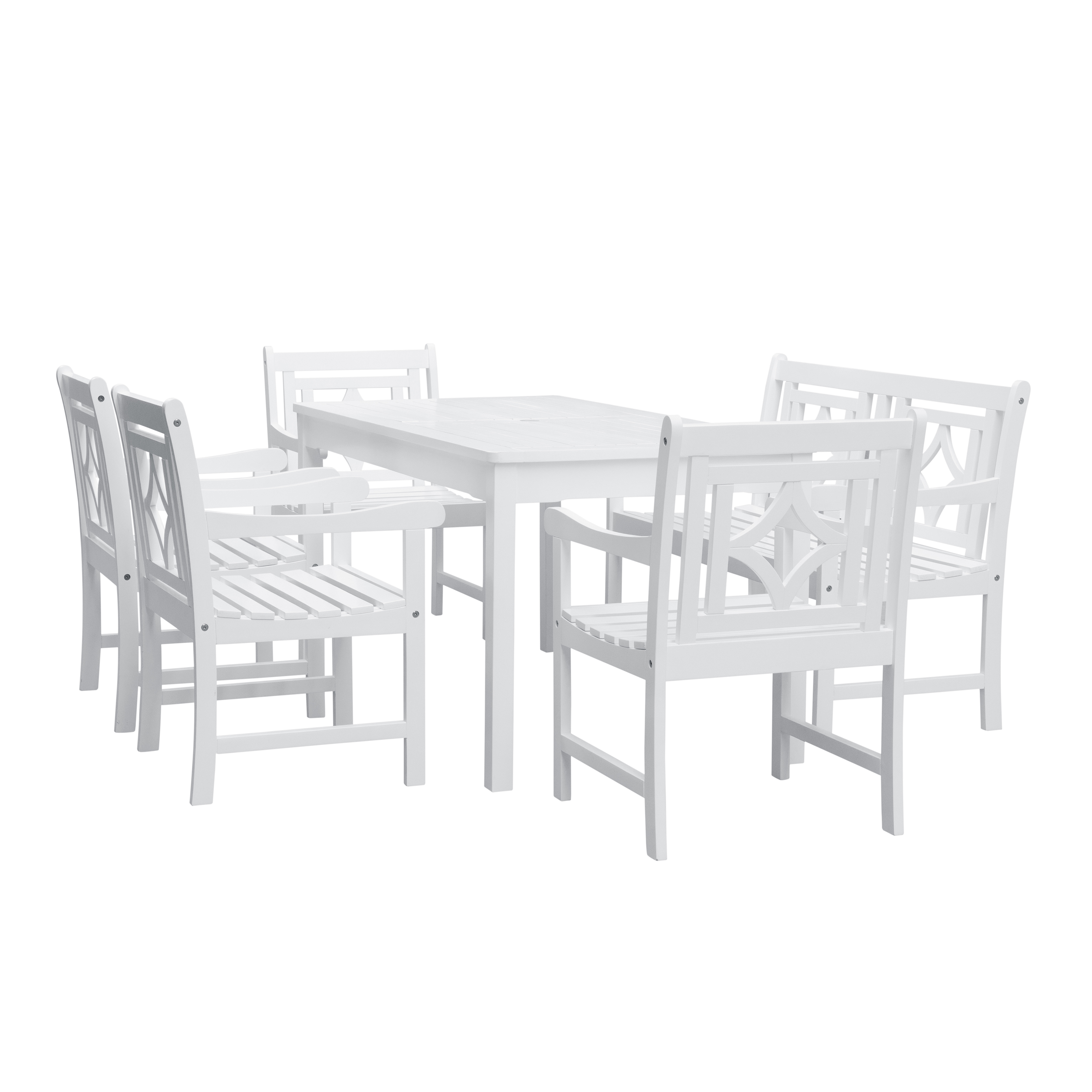 Bradley Outdoor 6-piece Wood Patio Rectangular Table Dining Set