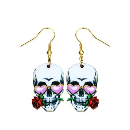 Sugar Skull Earrings Red Rose Pink Hearts Colorful Design Earrings Jewelry SSE-17