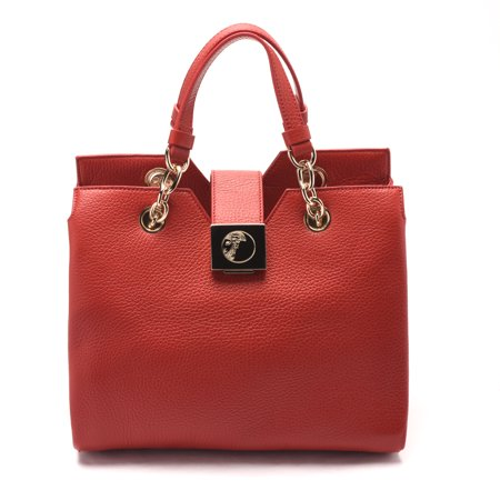 c32fdd3758e6 Versace - Versace Women Pebbled Leather Top Handle Handbag Satchel Red -  Walmart.com