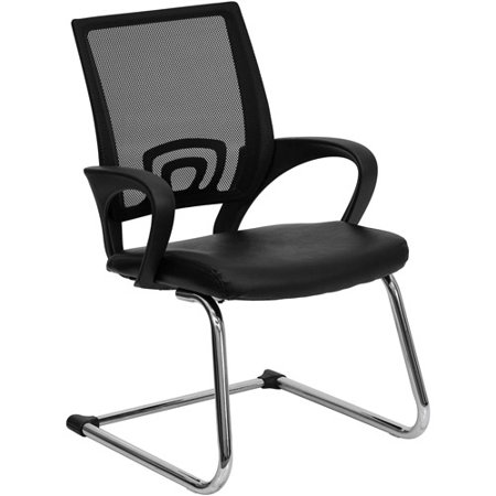 Black Leather Office Side Chair with Black Mesh Back and Sled Base FLACPD119A01BKGG