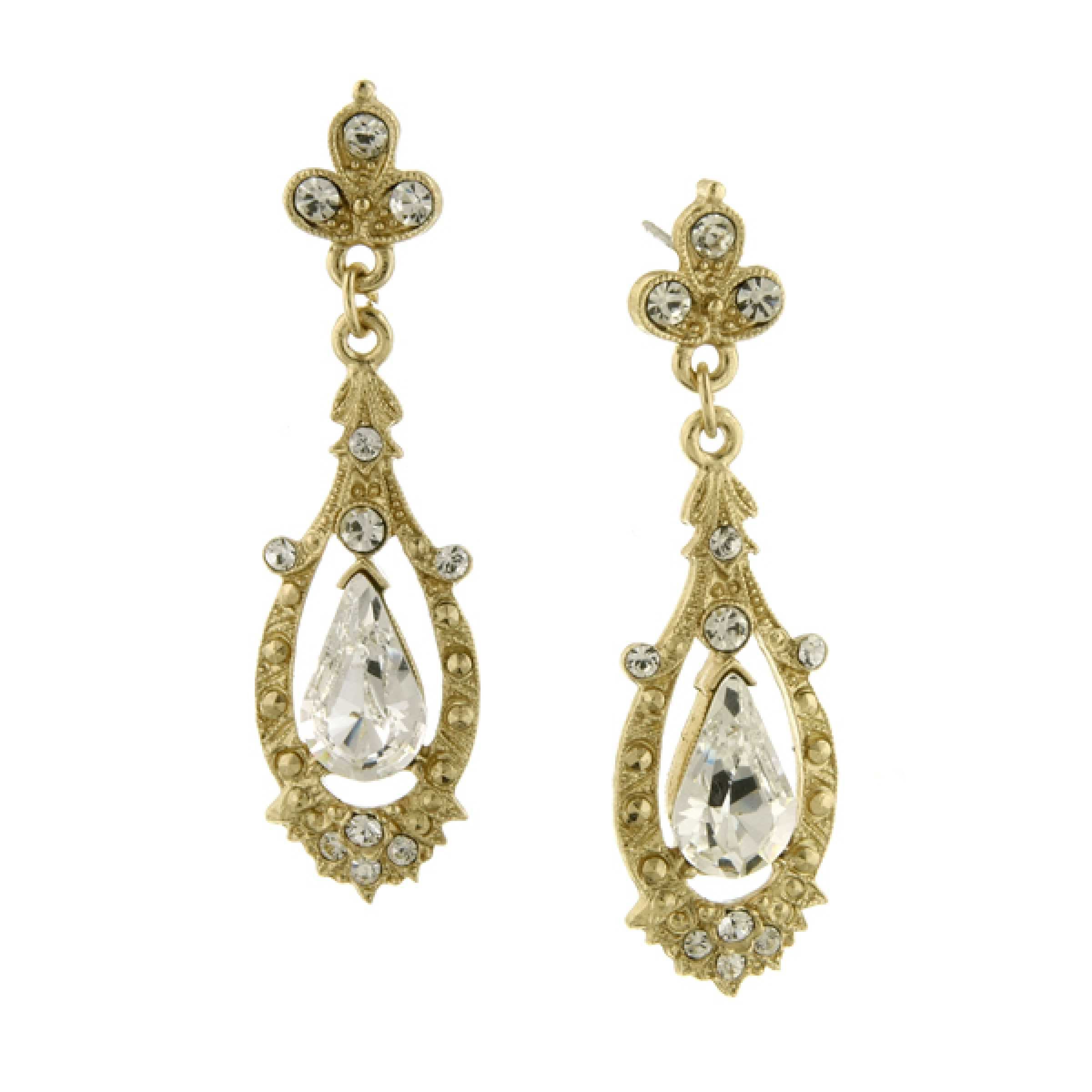 Crystal Accent Pave Drop Earrings 17538 NEW