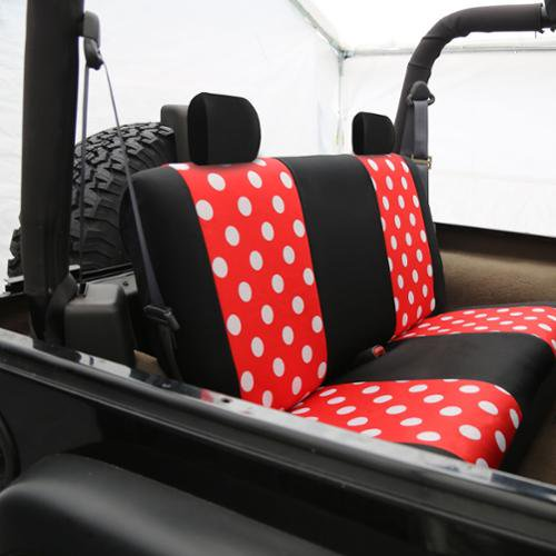 FH Group Red And Black Polka Dots Car Seat Covers Full Set