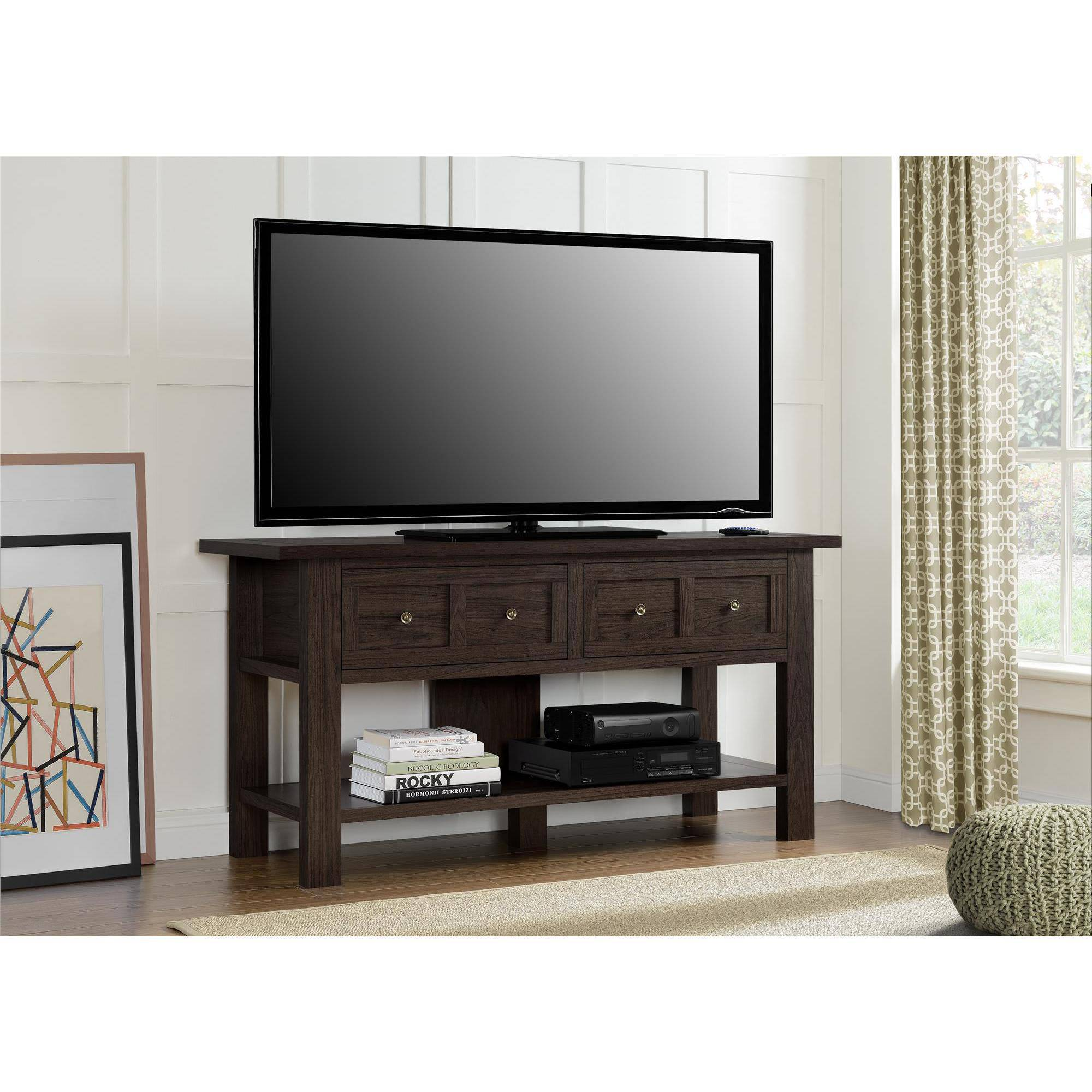 "Ameriwood Home Pillars Apothecary TV Stand for TVs up to 55"" Wide, Cherry"